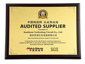 SGS audited supplier verification (China)